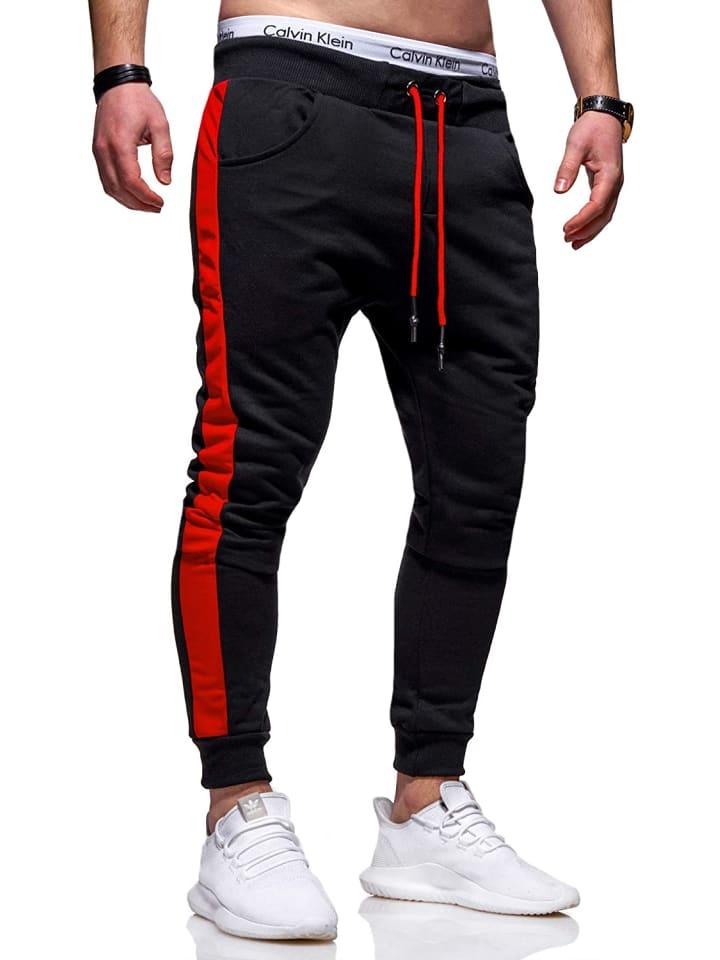 Behype Jogginghose TRACK in schwarz-rot