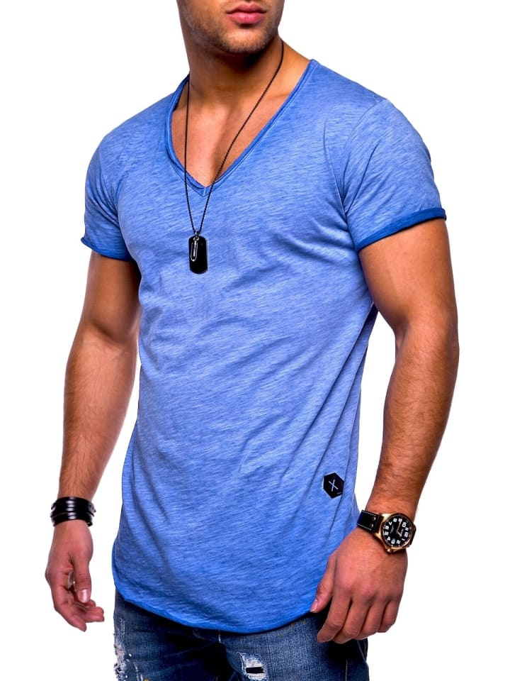 Behype T-Shirt NUKE in blau (wash)