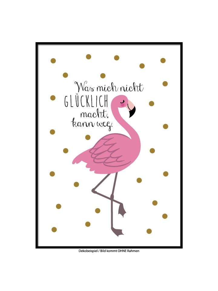"""SMART ART Kunstdrucke Kunstdruck / Poster """"glücklicher Flamingo"""" / A4 oder A3"""