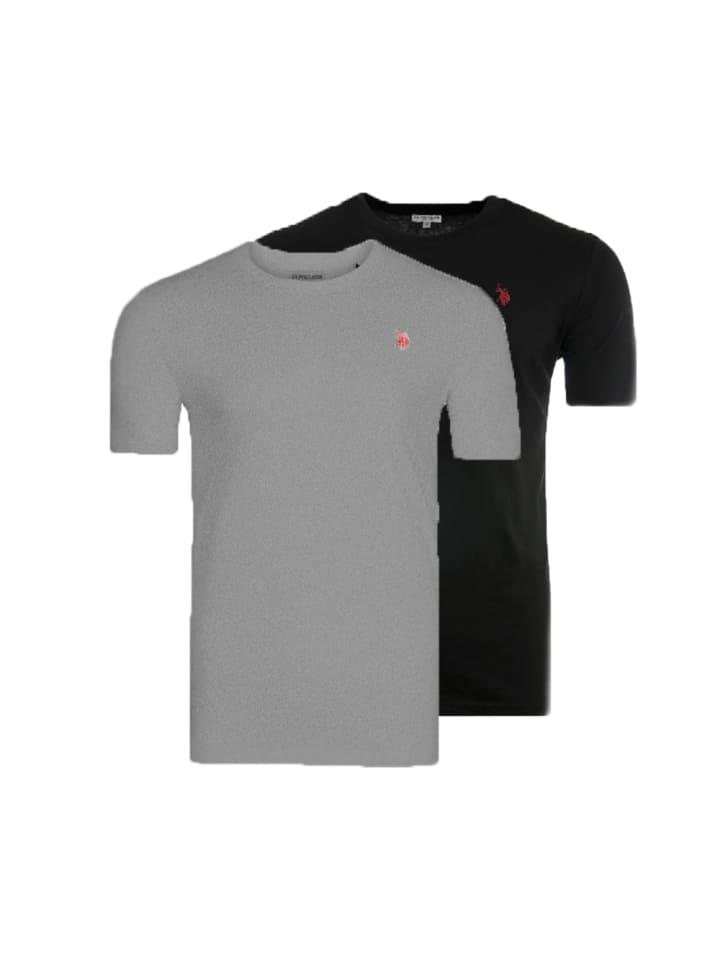 "U.S. Polo Assn. 2 x 2er Set T-Shirt ""Roundneck"" in Schwarz/Grau"