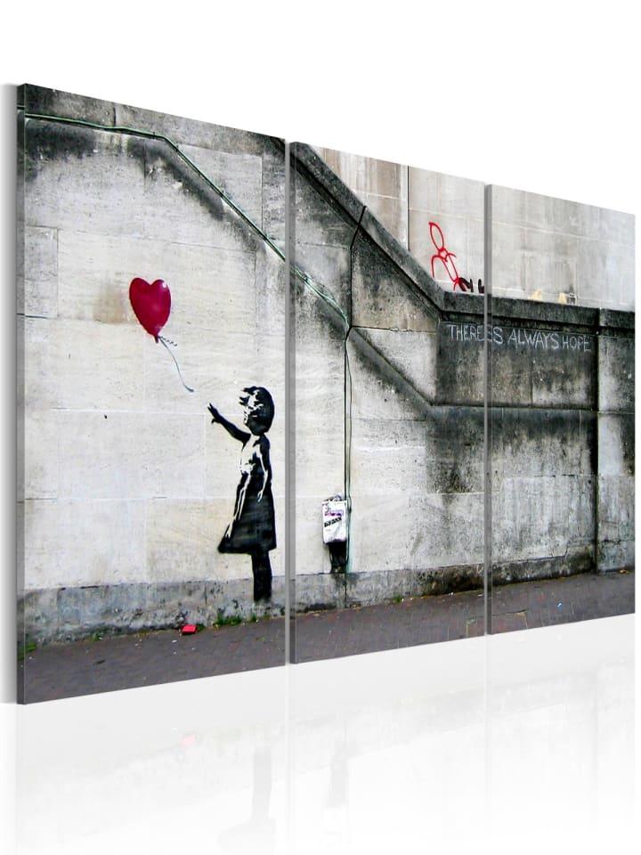 Artgeist Wandbild Hoffnung gibt es immer (Banksy) - Triptychon in Rot,Grau