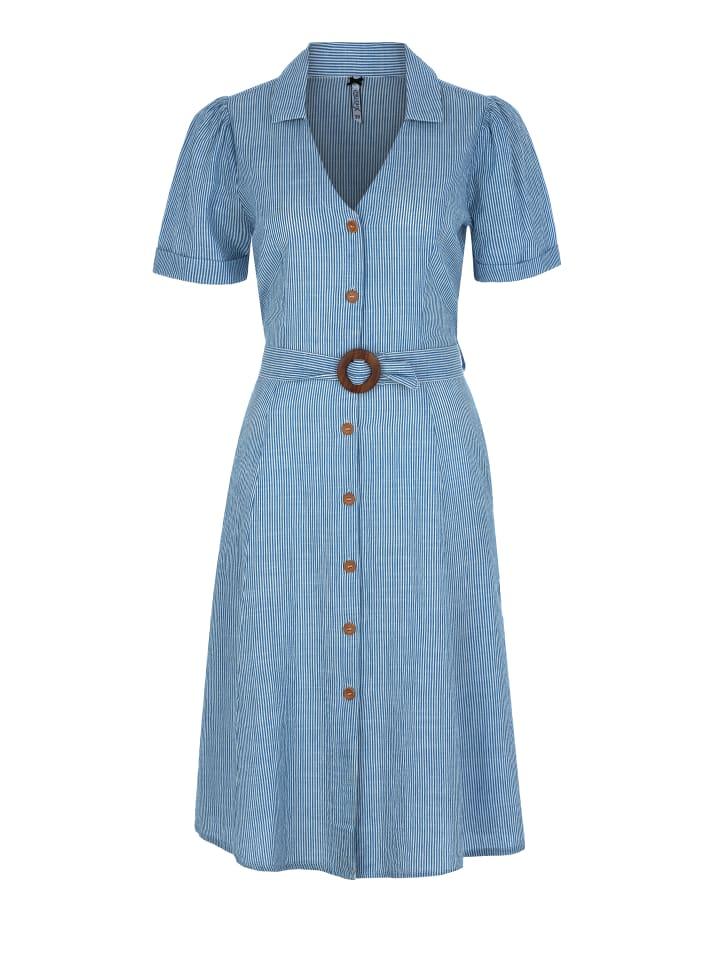 Million X - Women Damen Kleid Schwesternstreifen in light blue