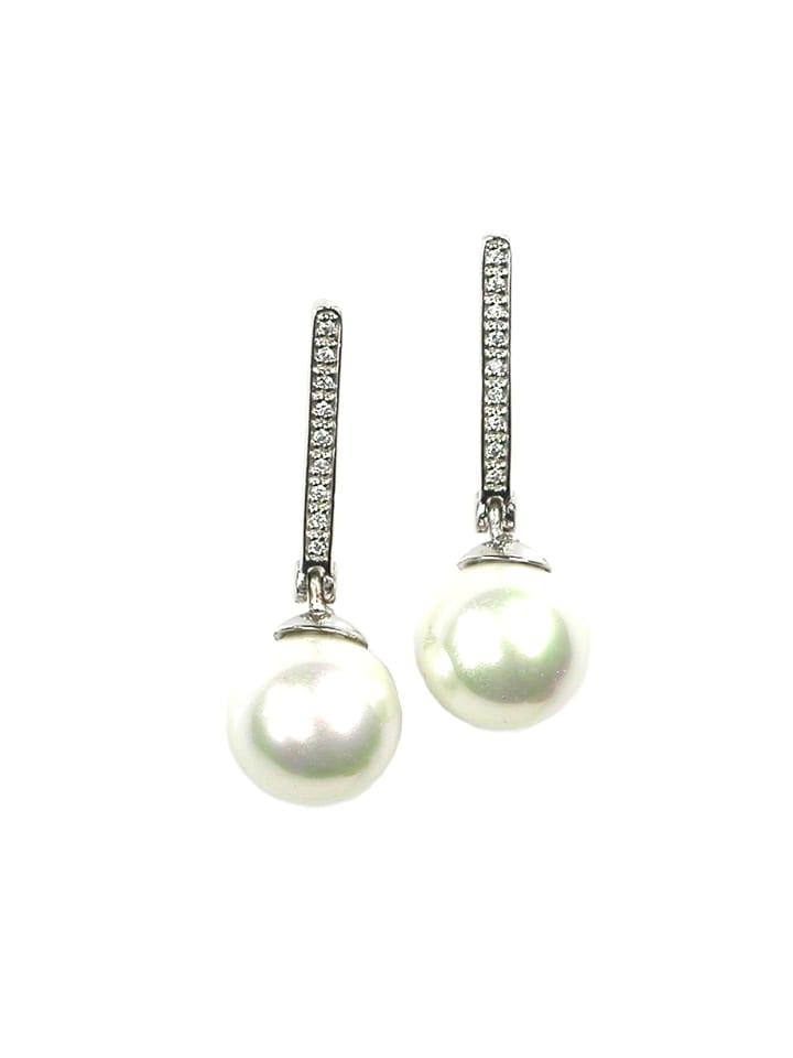 Perlas Orquidea  Perlenohrringe Dahlia Earrings in weiß