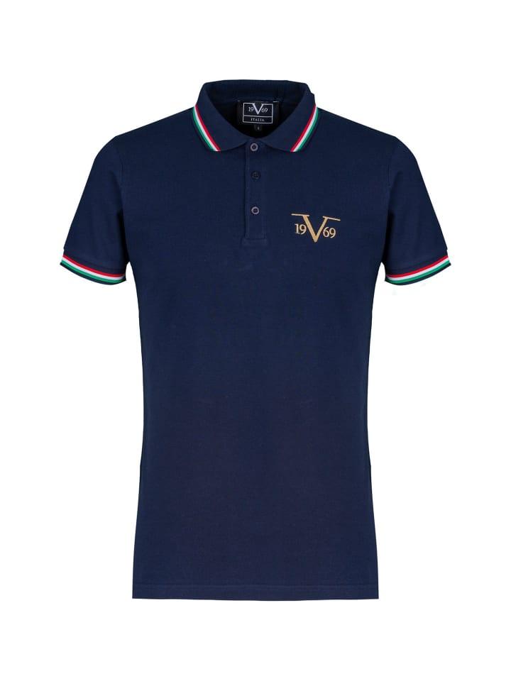 19V69 Italia by Versace Poloshirt Logo in blau