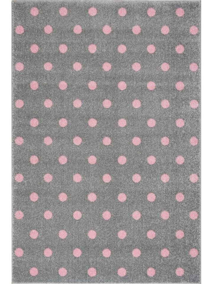 Livone Teppich CIRCLE in silbergrau/rosa