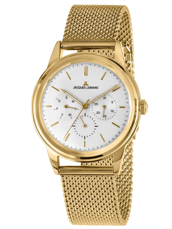 Jacques Lemans Multifunktionsuhr Retro Classic Weiß / Gold