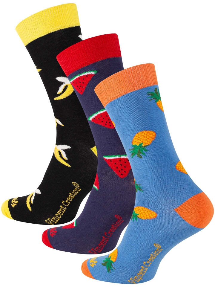 Vincent Creation® Früchte Socken 3 Paar - One Size in Bunt