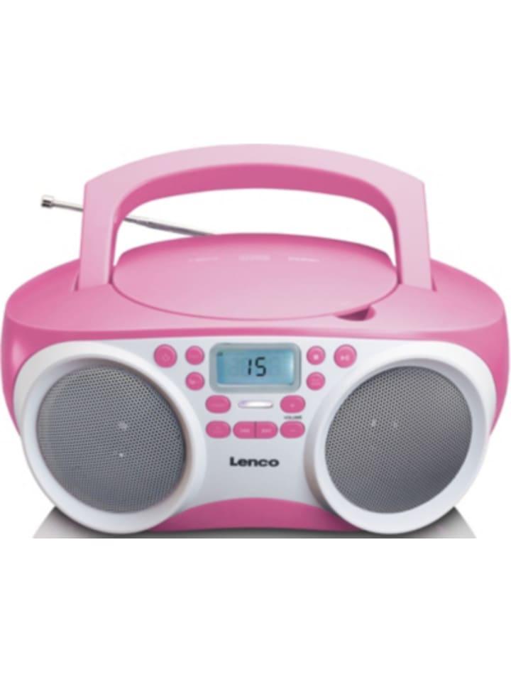 Lenco SCD-200PK - FM-Radio mit CD/MP3-Player und USB-Anschluss, pink
