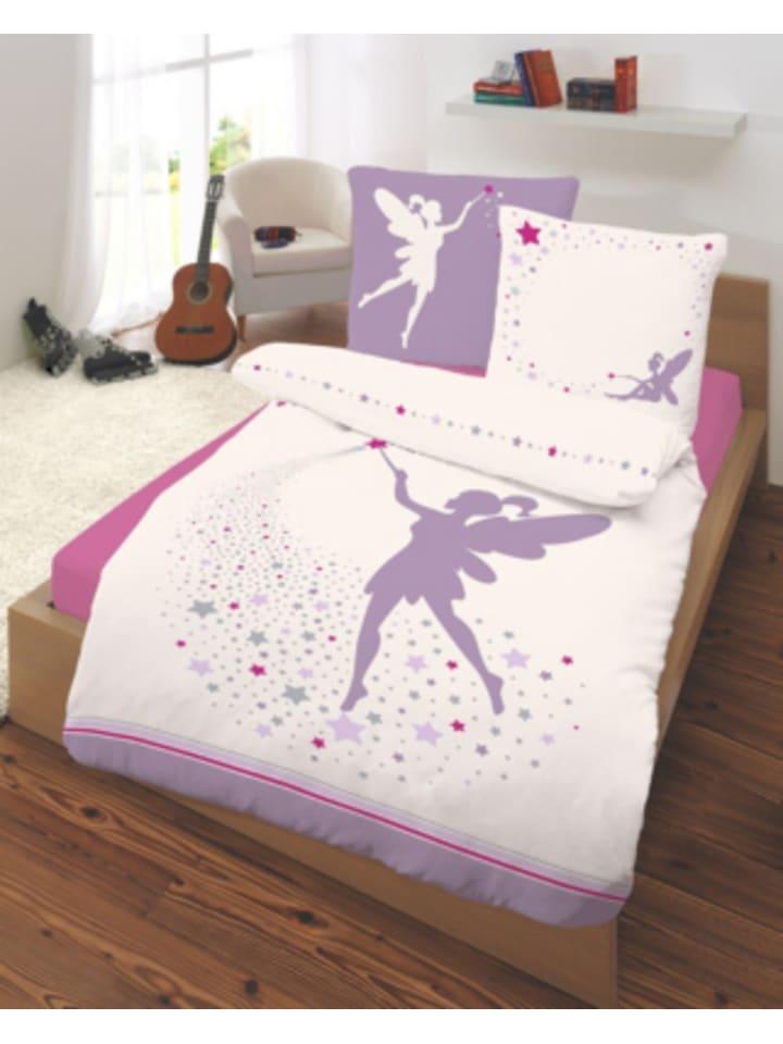 DOBNIG Kinderbettwäsche Fee, Renforcé, violett, 135 x 200 cm