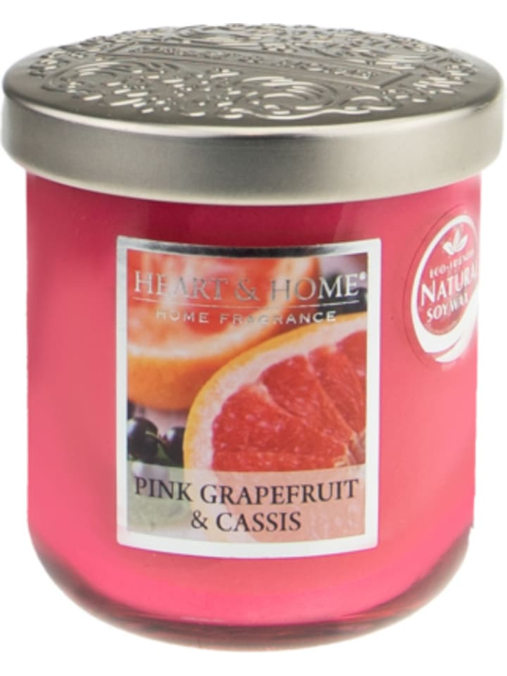 "HEART & HOME Kleine Duftkerze ""Pink Grapefruit & Casis"", 115g"