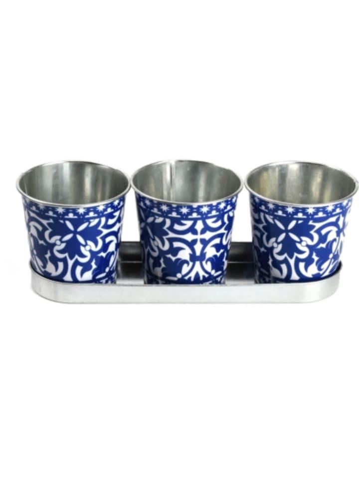 "Esschert Design 4-tlg. Zink Blumentopf Set mit Tablett ""Blaue Ornamente"", ca. B30 cm"