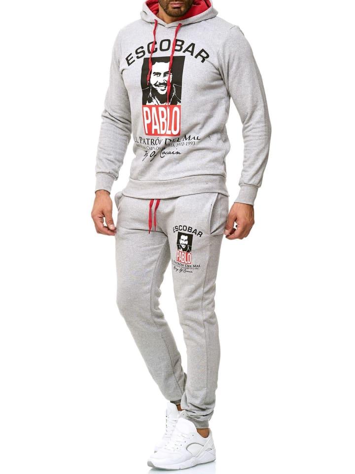 EGOMAXX Trainingsanzug Pablo Escobar Jogginganzug Sportanzug Hoodie Pants in Grau
