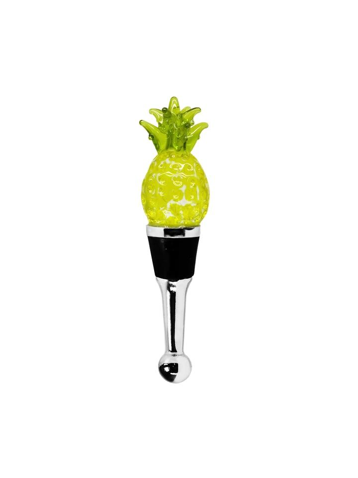 Edzard Flaschenverschluss Ananas in Bunt, Glas 11x3x2.5cm