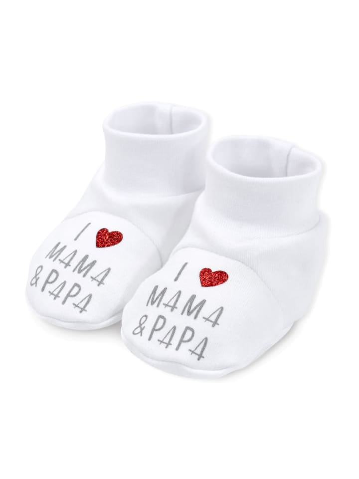 Baby Sweets Schuhe I love Mama & Papa in weiß