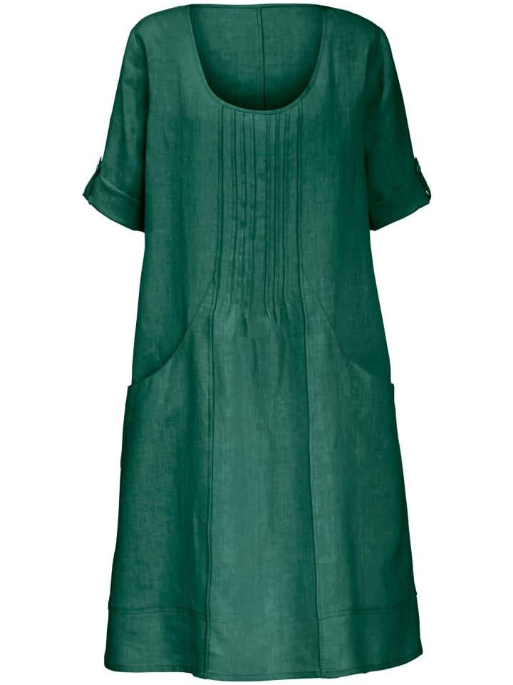 ANNA AURA Kleid aus 100% Leinen mit 3/4-Arm in grün