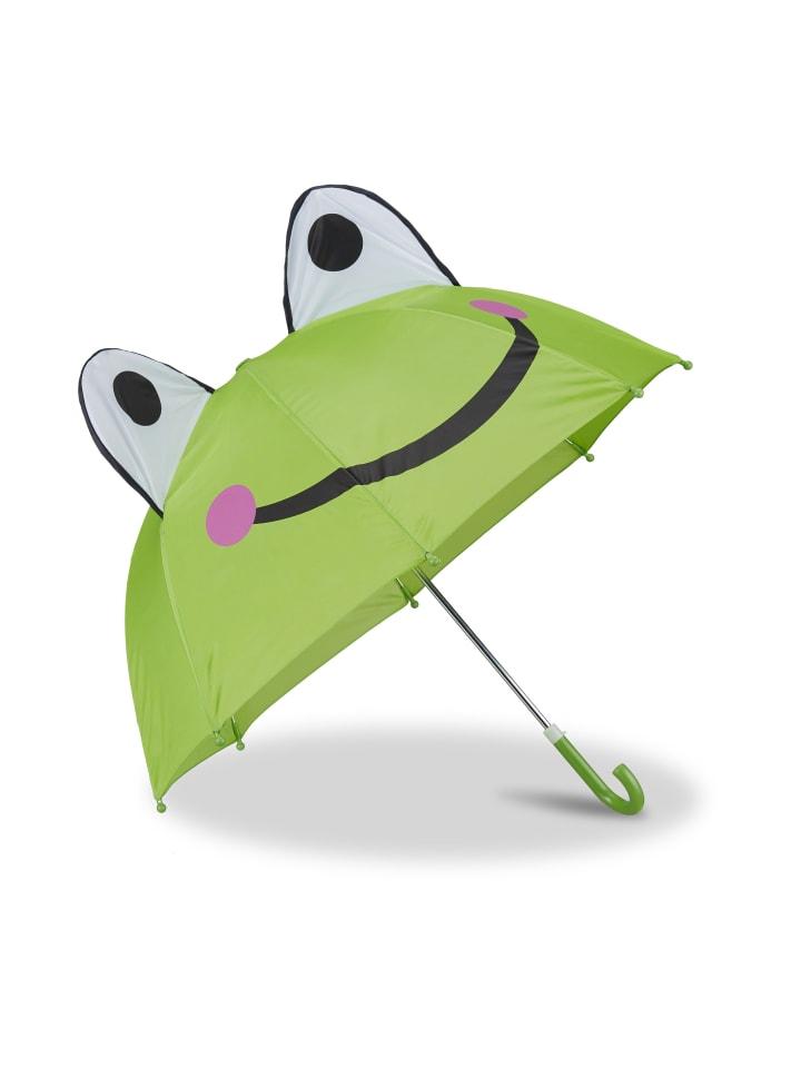 Relaxdays Kinderregenschirm Frosch in Grün