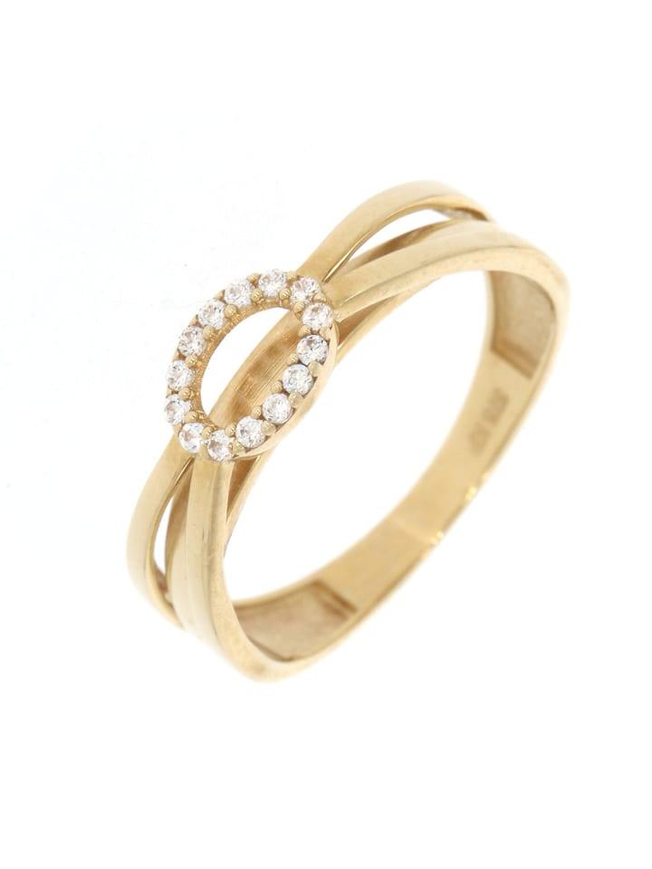 """Luxxos Ring """"mit 14 Zirkonia"""" in gold und weiß"""