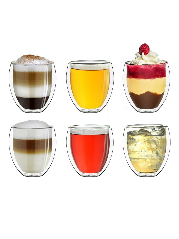 """Creano 6er Set Thermoglas dg-b """"Kaffeeglas/Teeglas"""" - 250ml"""