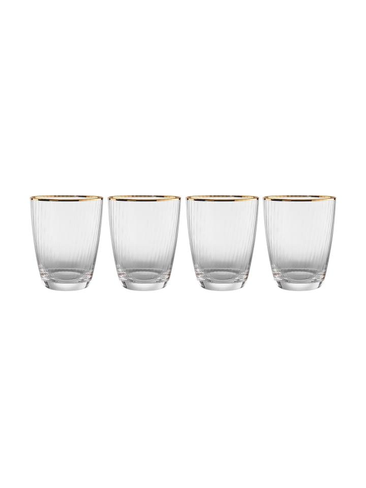 Butlers 4x Wasserglas mit Goldrand 300ml GOLDEN TWENTIES in transparent
