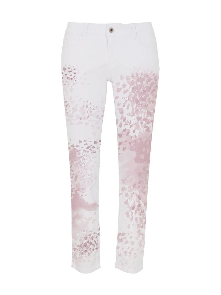 Million X - Women Damen Hose 7/8 Sunny Face Print Pink in white