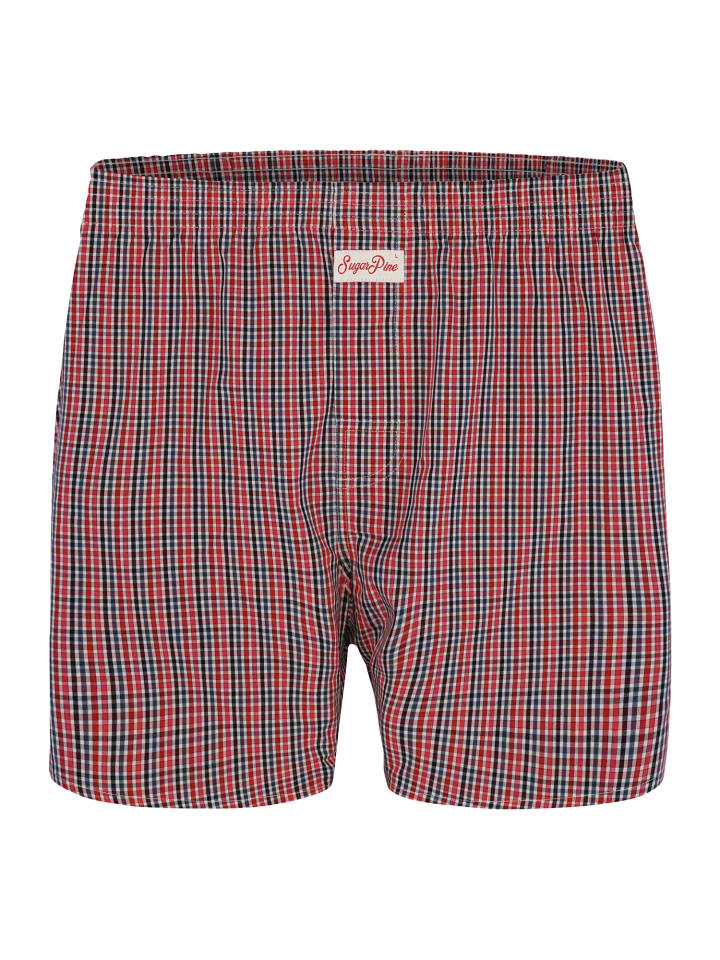 Sugar Pine Boxershorts Checks 1902 in Rot / Blau