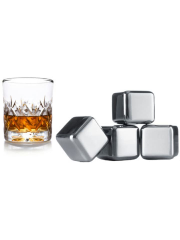 Vacu Vin 4er-Set Whisky Edelstahl Kühlsteine