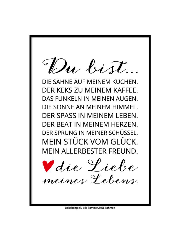 "SMART ART Kunstdrucke Kunstdruck / Poster ""Liebe meines Lebens"" / A4 oder A3"