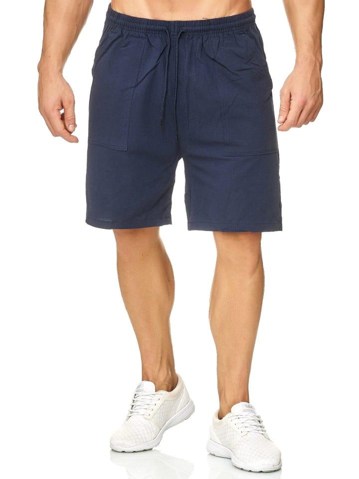 Max Men Shorts Bermuda Pants Kurze Sommer Hose leicht in Dunkelblau