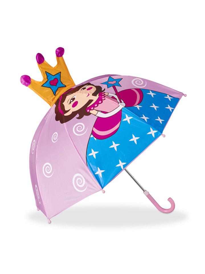 Relaxdays Kinderregenschirm Prinzessin in Rosa