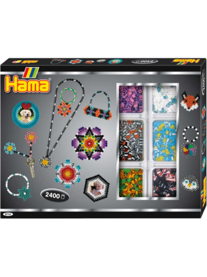 Hama Bügelperlen HAMA 3714 Kreativbox gestreifte Perlen, 2.400 midi-Perlen & Zubehör