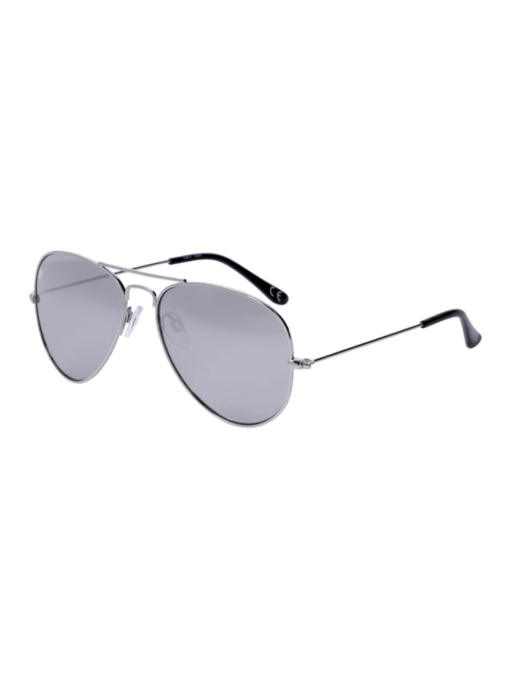 Six Sonnenbrille im klassischen Aviator Look in silber