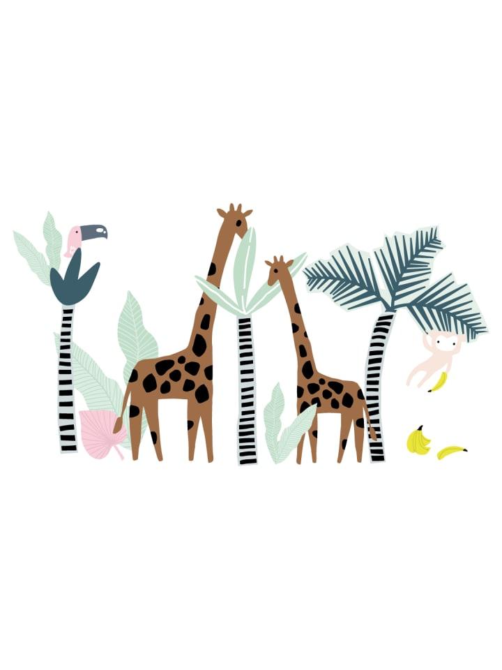 Dekodino Wandtattoo Kinderzimmer Pastell Tiere Im Dschungel Tropenwald In Bunt Gunstig Kaufen Limango