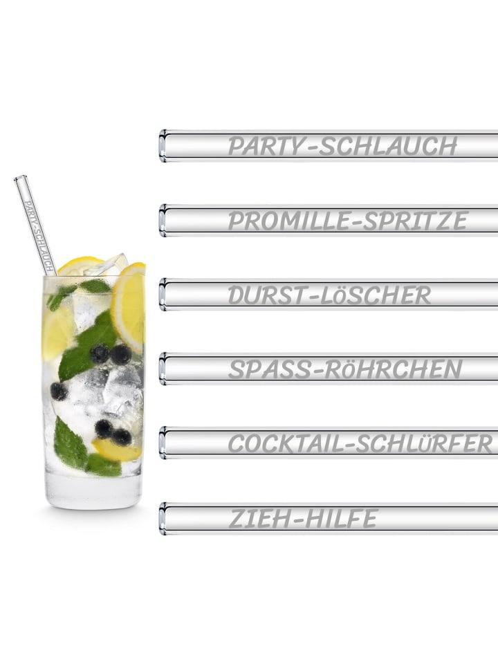 "HÅLM 6er Set Trinkhalm: ""Lustige Strohhalm Namen"" Glas-Strohhalme in Transparent - 20 cm"