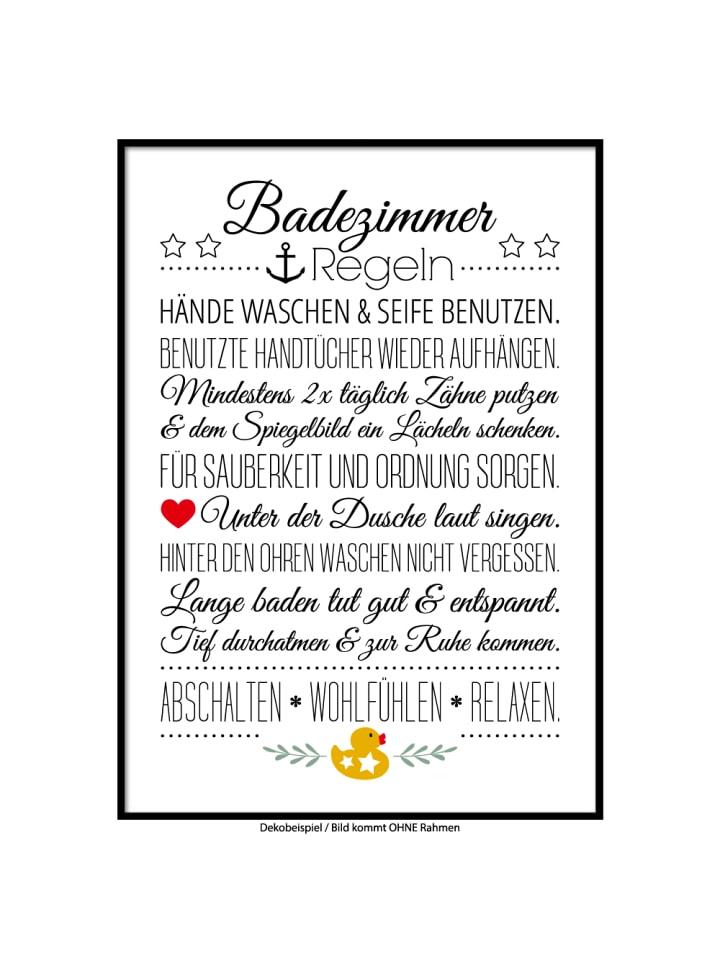 "SMART ART Kunstdrucke Kunstdruck / Poster ""Bad Hausordnung"" / A4 oder A3"