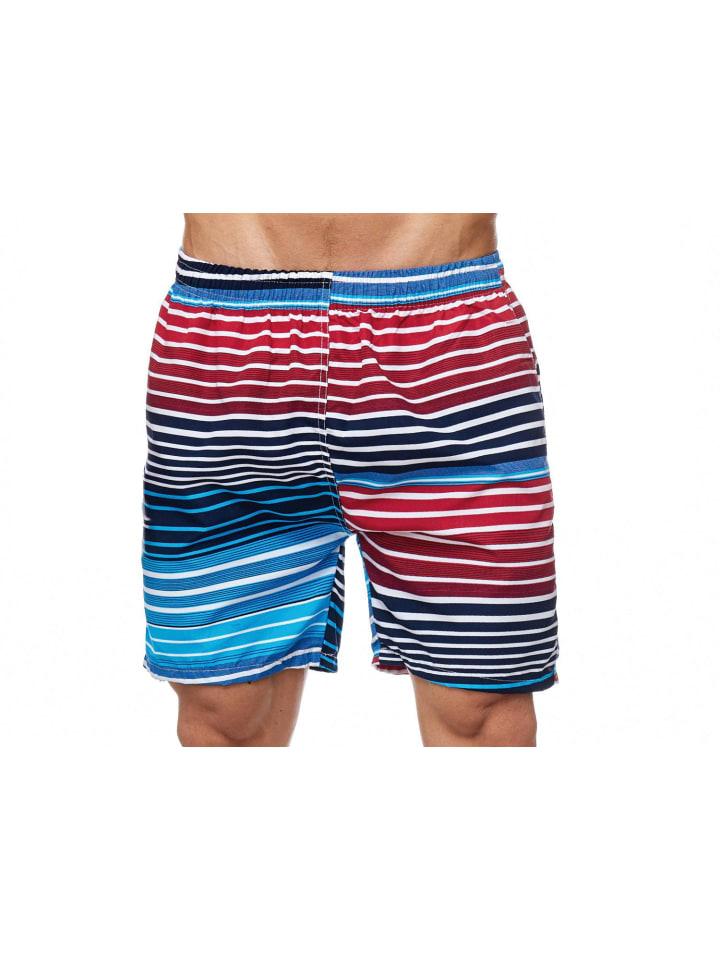 Max Men Bade Shorts Kurze Schwimmhose in Blau-Rot