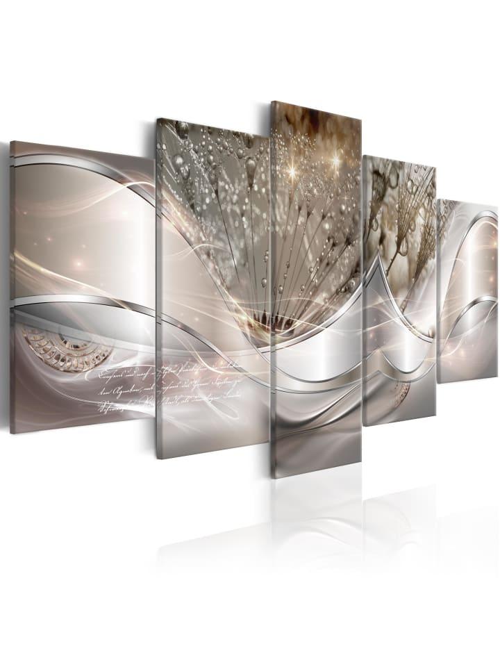 Artgeist Wandbild Sparkling Dandelions (5 Parts) Beige Wide in Silber,Beige