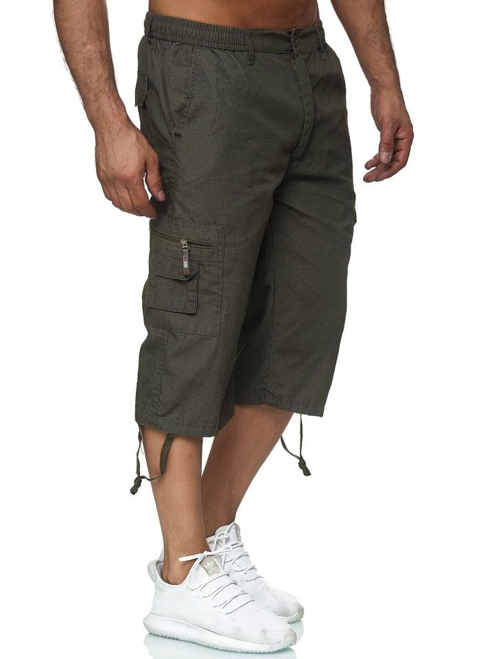 Max Men Bermuda Cargo Shorts Kurze 3/4 Hose Leichte Schlupfhose in Grün