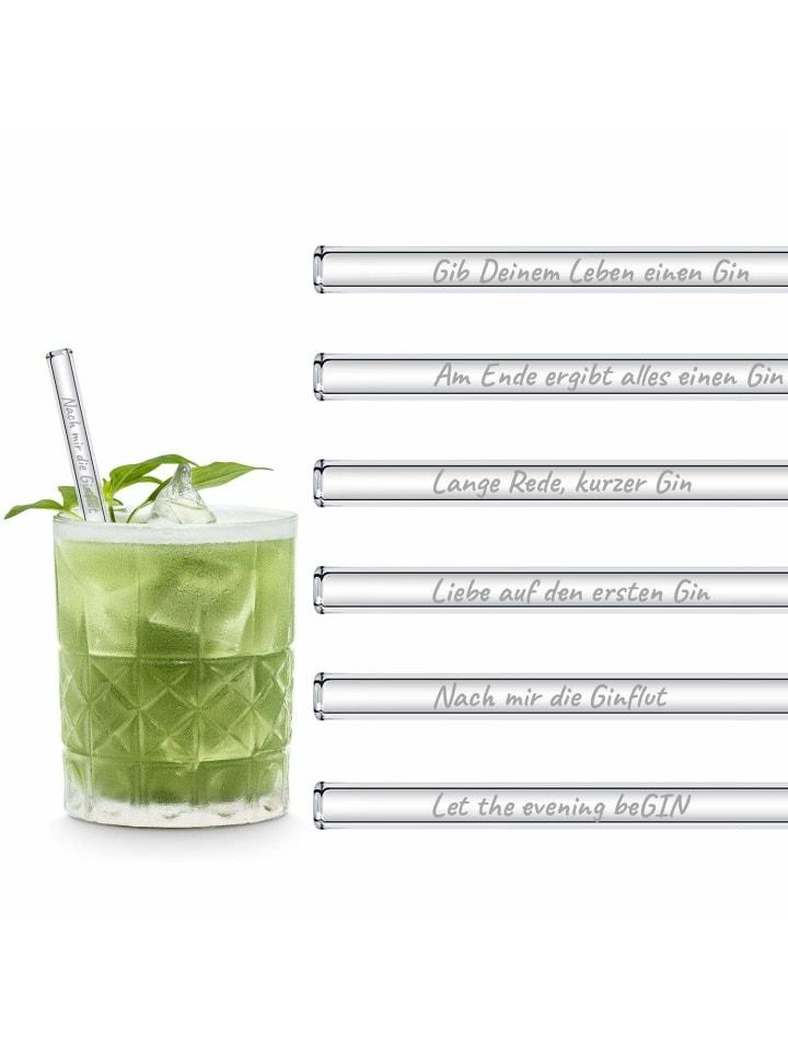 """HÅLM 6er Set Trinkhalm: """"Gin Edition"""" Glas-Strohhalme in Transparent - 15 cm"""