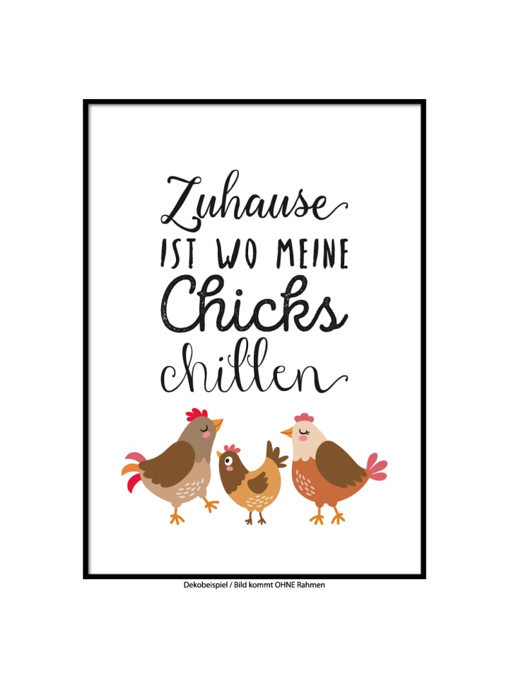 """SMART ART Kunstdrucke Kunstdruck / Poster """"Chillende Hühner"""" / A4 oder A3"""