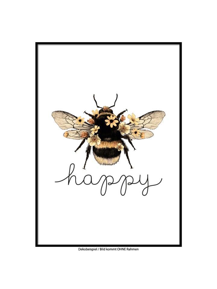"""SMART ART Kunstdrucke Kunstdruck / Poster """"Bee Happy"""" / A4 oder A3"""