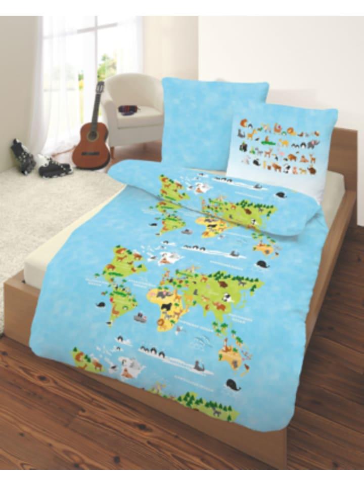 DOBNIG Kinderbettwäsche Weltkarte, Renforcé, 135 x 200 cm