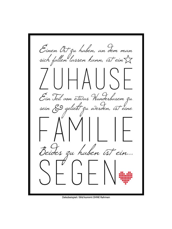 """SMART ART Kunstdrucke Kunstdruck / Poster """"Familie ist ein Segen"""" / A4 oder A3"""
