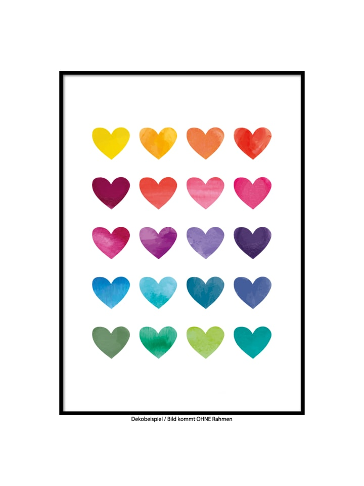 "SMART ART Kunstdrucke Kunstdruck / Poster ""Im Herzen bunt"" / A4 oder A3"