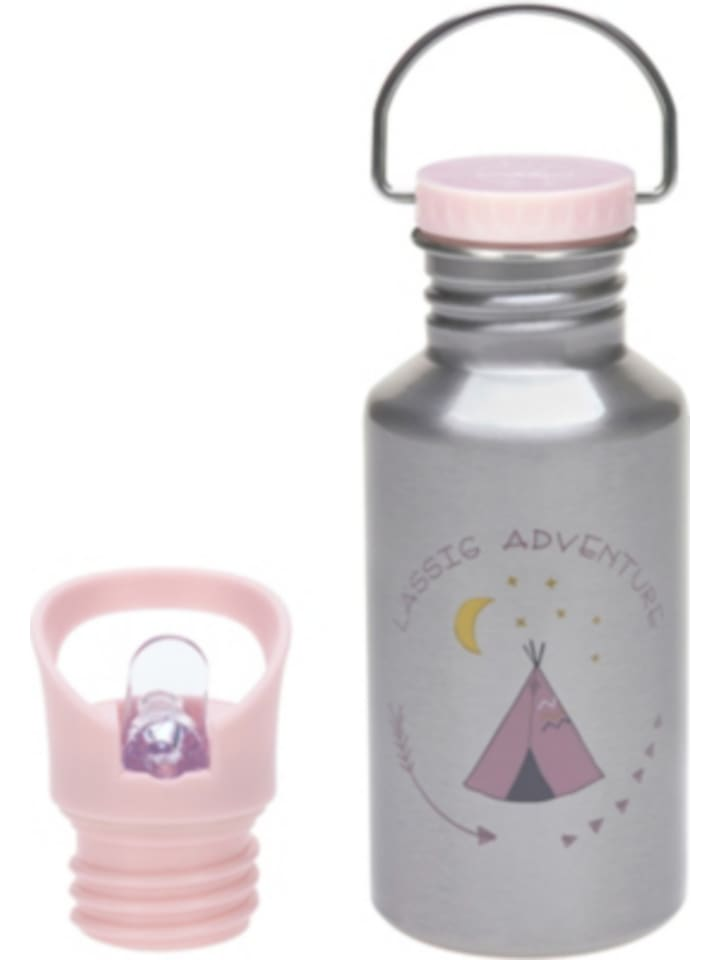 Lässig Edelstahl Trinkflasche Adventure Tipi, 500 ml, inkl. 2 Verschlüssen