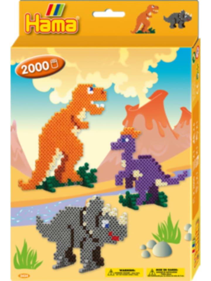 Hama Bügelperlen HAMA 3434 Geschenkset Dino-Welt, 2.000 midi-Perlen & Zubehör