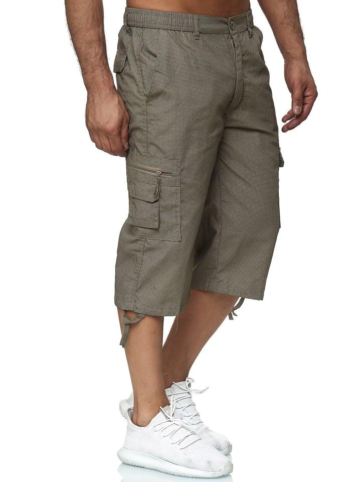Max Men Bermuda Cargo Shorts Kurze 3/4 Hose Leichte Schlupfhose in Beige