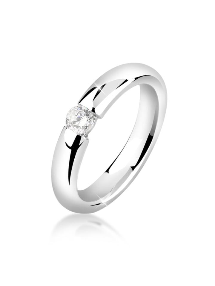 Nenalina Ring 925 Sterling Silber Solitär-Ring, Verlobungsring in Silber