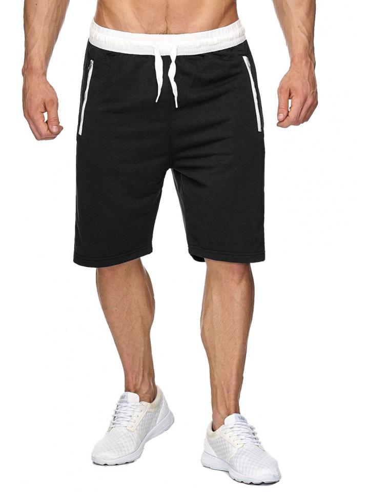 EGOMAXX Sweat Shorts Kurze Jogging Hose Bermuda Sporthose H1927 in Schwarz