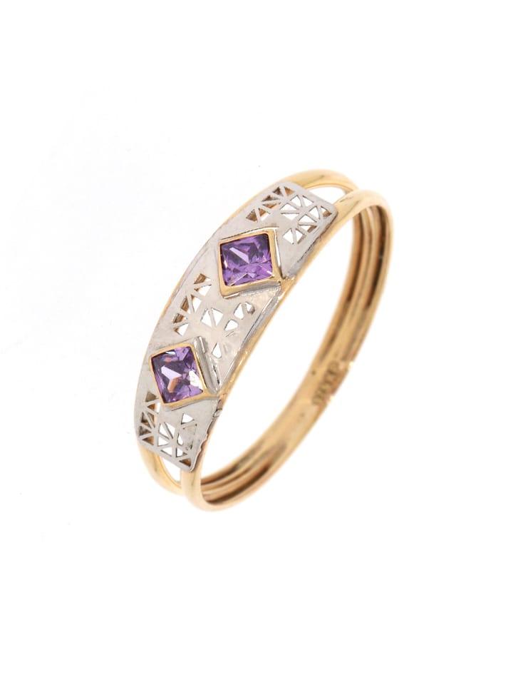 """Luxxos Ring """"bicolor mit Amethyst"""" in gold und lila und silber"""