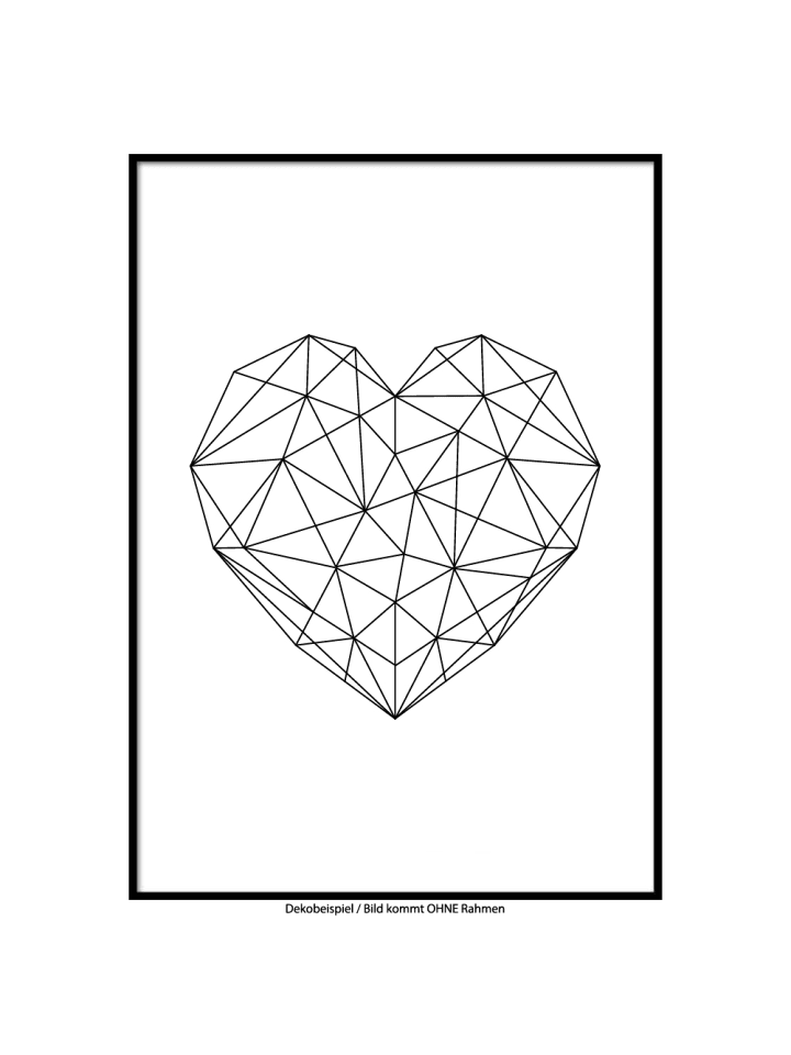 """SMART ART Kunstdrucke Kunstdruck / Poster """"Geometric Heart"""" / A4 oder A3"""